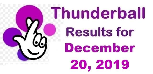 Thunderball Results for Friday, December 20, 2019