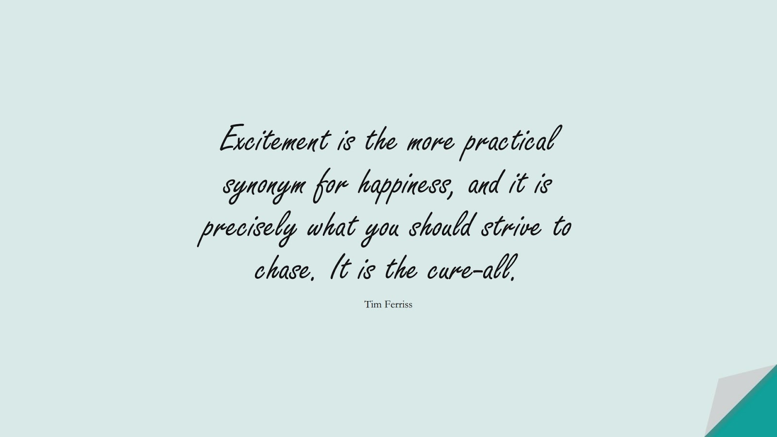 Excitement is the more practical synonym for happiness, and it is precisely what you should strive to chase. It is the cure-all. (Tim Ferriss);  #TimFerrissQuotes