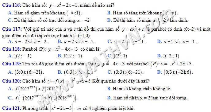 trắc nghiệm đại số lớp 10 chương 2 có đáp án file word