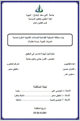 مذكرة ماستر : جزاء مخالفة الضبطية القضائية للضمانات القانونية المقررة لحماية الحريات الفردية PDF