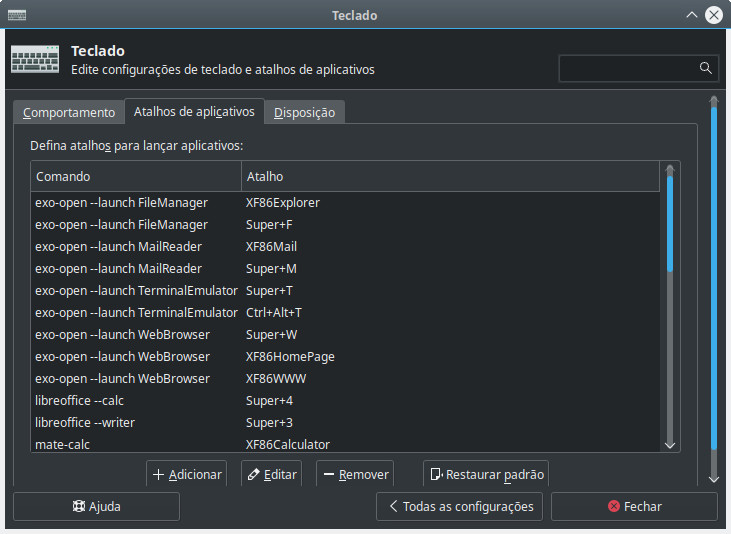 Configurar atalhos de aplicativos