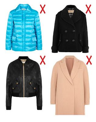 Голубая куртка, черное короткое пальто, черный бомбер и светлое пальто-кокон