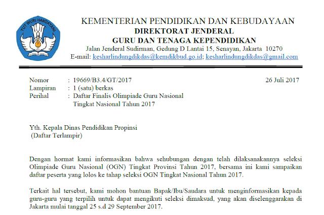 Pengumuman Finalis OGN Tingkat Nasional Tahun 2017