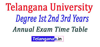 Telangana University (TU) 2nd 3rd Year Annual Exam Time Table 2017