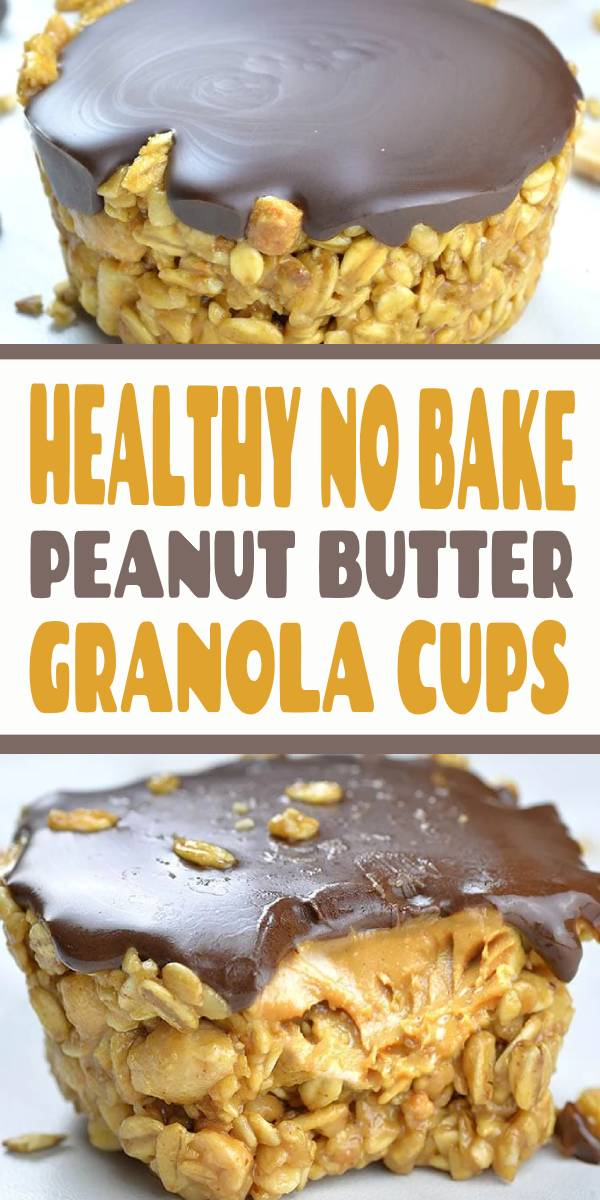 Need a quick and healthy snack? No Bake Peanut Butter Granola Cups are easy and healthy snack for kids and adults and perfect breakfast to grab and go on busy mornings. #healthysnack #nobake #snack #breakfast
