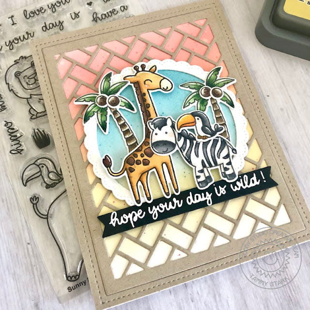 Sunny Studio Stamps: Frilly Frame Dies Savanna Safari Tropical Scenes Everyday Card by Tammy Stark