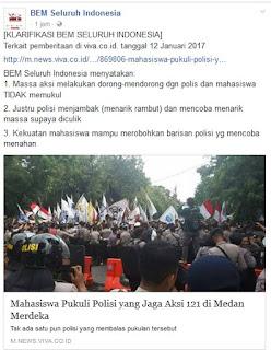 Massa Mahasiswa Disebut Pukuli Polisi Penjaga Aksi 121, Begini Klarifikasi Resmi BEM Seluruh Indonesia