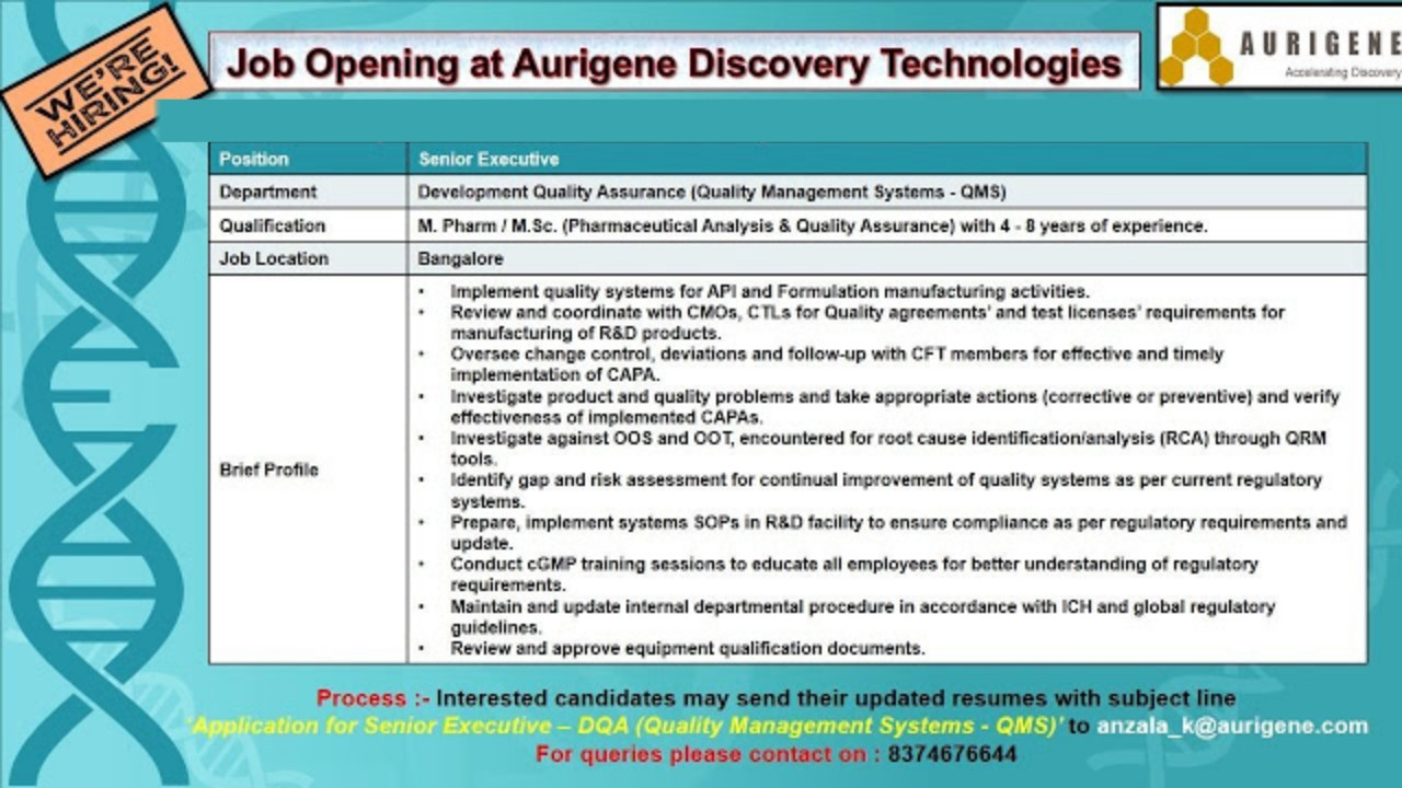 Multiple Job Openings In Qc Dqa Dmpk Cell Molecular Biology Aurigene Discovery Technologies Pharmaceutical Guidance