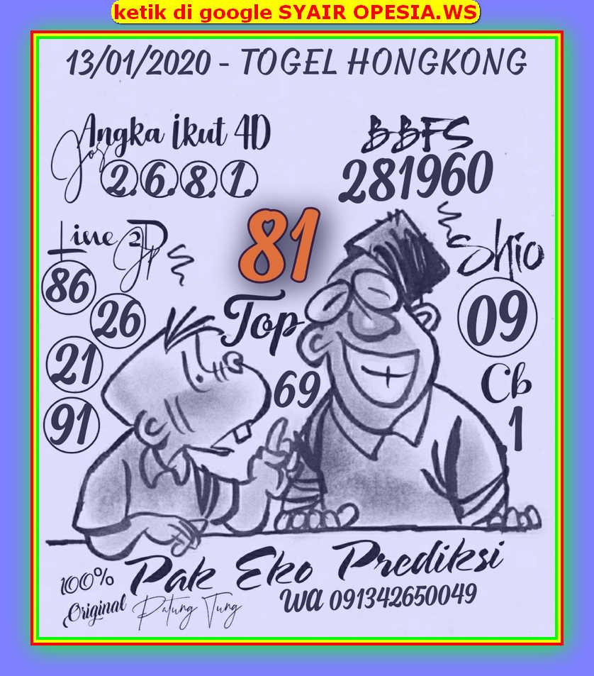 Kode syair Hongkong Senin 13 Januari 2020 22