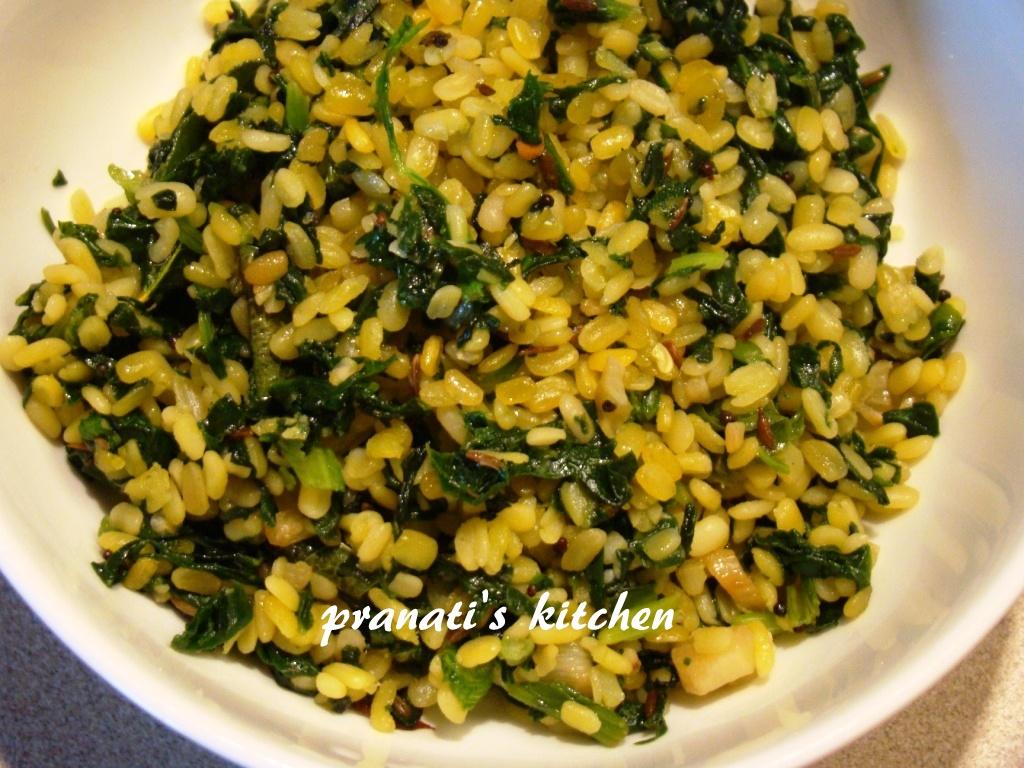 Delicious Recipes 4m Pranati's Kitchen: Moong Dal palak fry