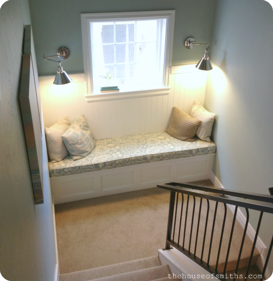 reading nook in stair landing