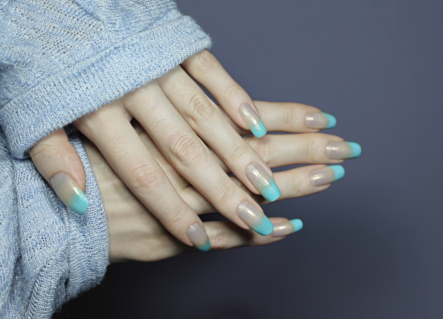 blue ombre nail look tutorial