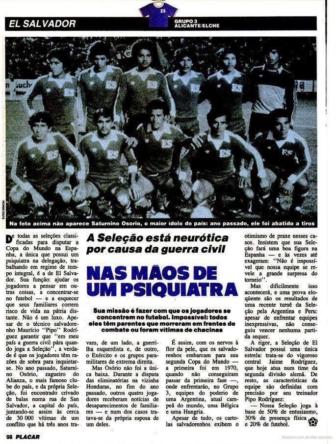 El Salvador Placar Copa do Mundo de Futebol 1982