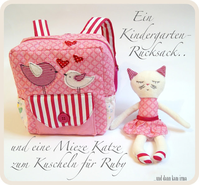 Applikation, Kindergarten-Rucksack, KSW 17, nähen, rag doll cat, Schnittmuster, Stoffkatze, Vögel,