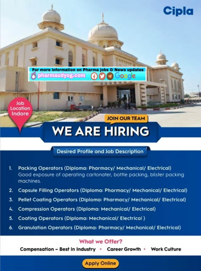 Cipla Limited | Recruitment for Multiple departments at Indore