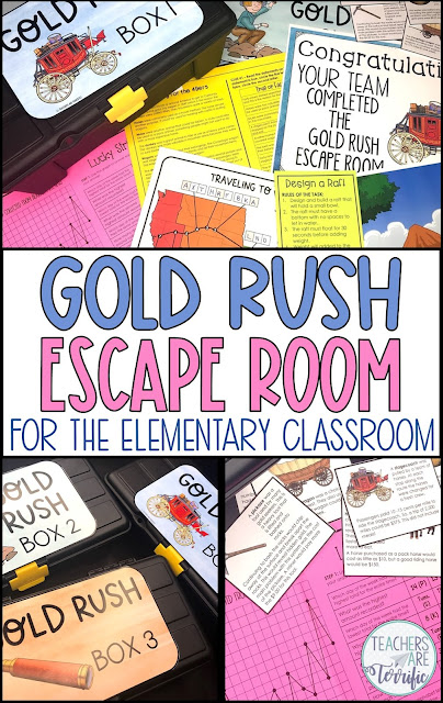 Upper elementary ideas for the California Gold Rush. This Escape Room includes 3 tasks featuring the gold rush trail map, mining for gold, and reading skills. #teachersareterrific #goldrush