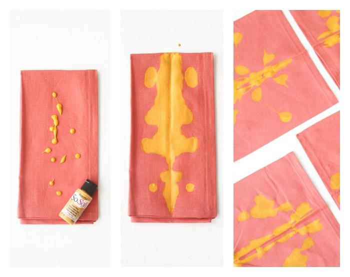 servilletas decoradas con pintura de tela