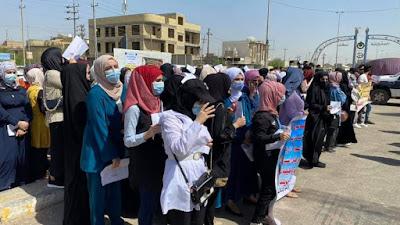 مهندسو ميسان ينظمون مظاهرة أمام شركة نفط المحافظة