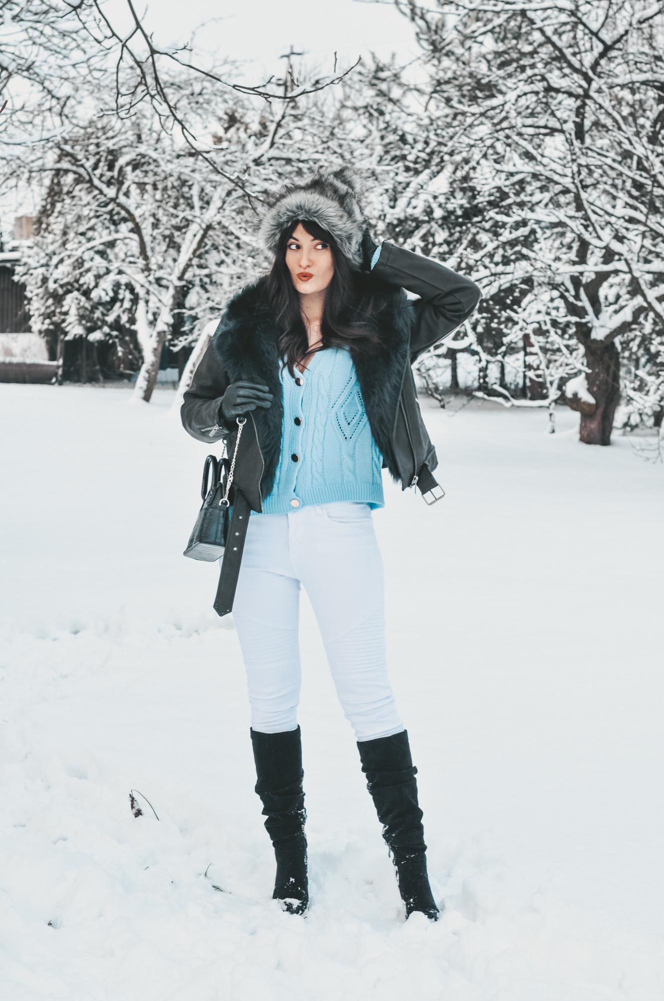 szara czapka zimowa stylizacja