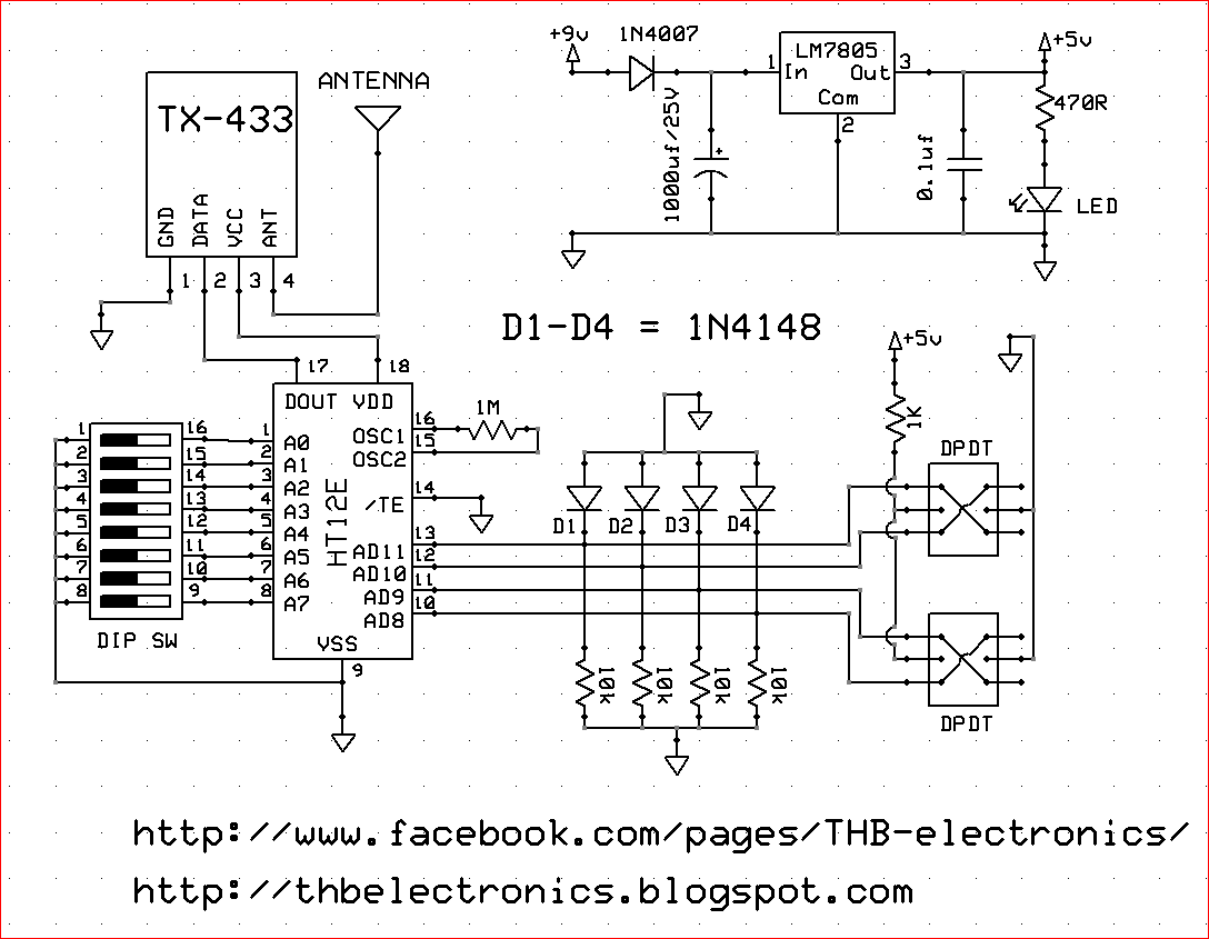 rf tx and rx circuit diagram 6 way round trailer plug wiring thb electronics how to make wireless robot car