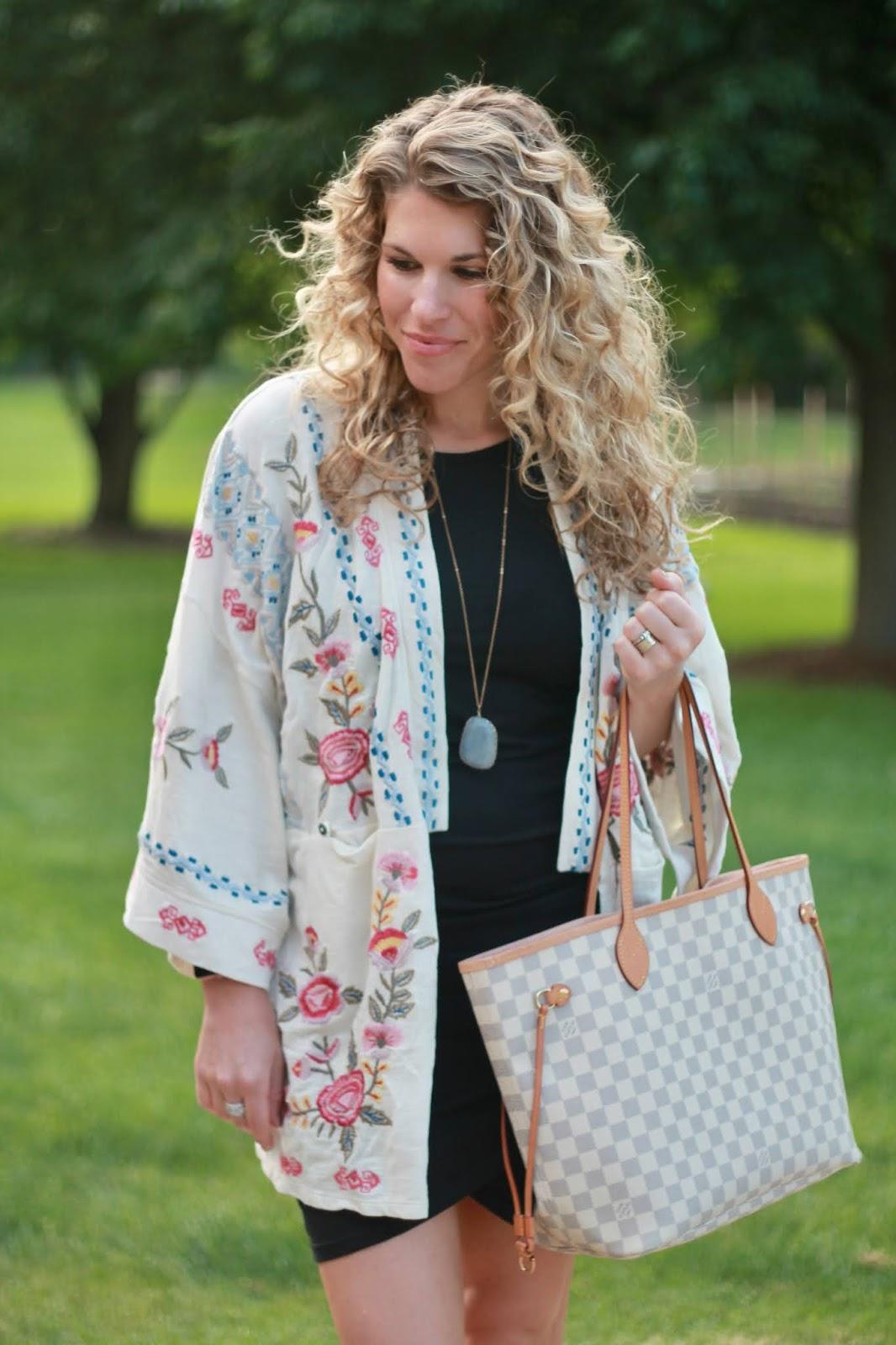caite & kyla, white embroidered kimono, black ruched dress, rhinestone slide sandals, LV azure neverfull, white embroidered kimono, Caite & kyla kimono jacket