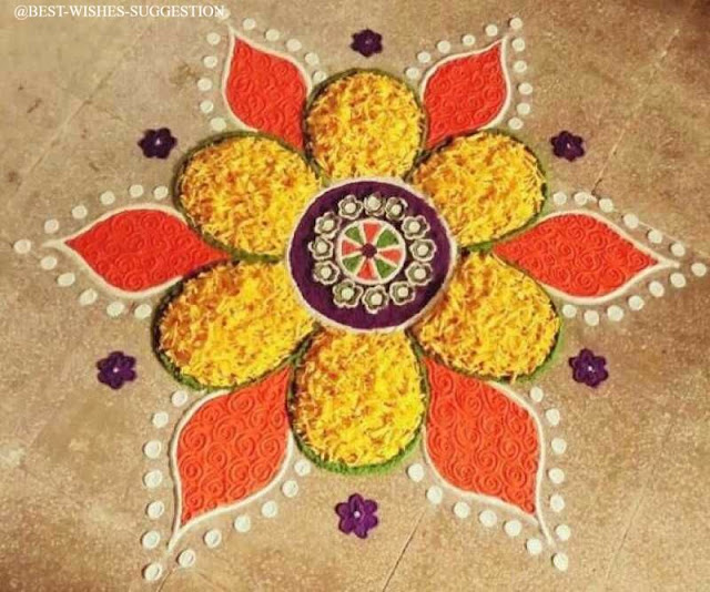 simple flower rangoli design with colours