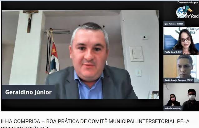 Geraldino Júnior e equipe da Ilha apresentaram  em Webinar, relato de experiência Boa Prática de Comitê Municipal Intersetorial pela Primeira Infância