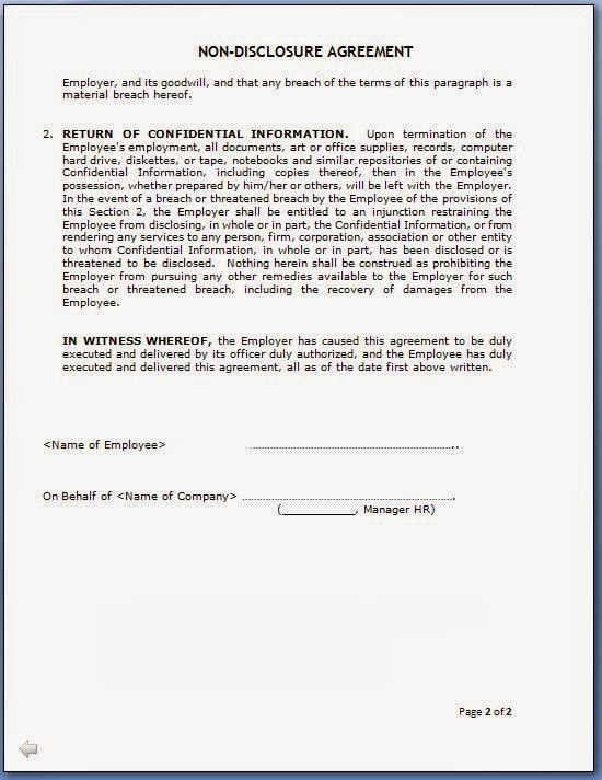 Confidentiality Agreement After Employment  Create Professional