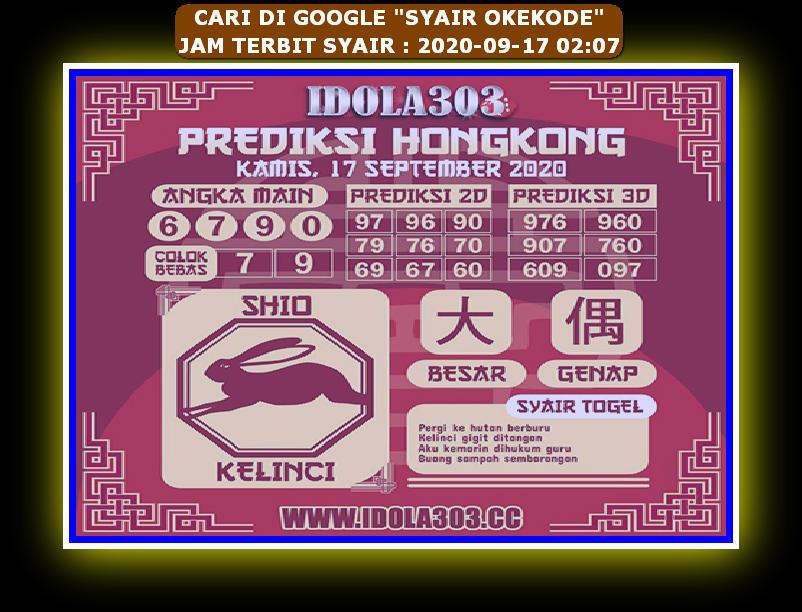 Kode syair Hongkong Kamis 17 September 2020 183