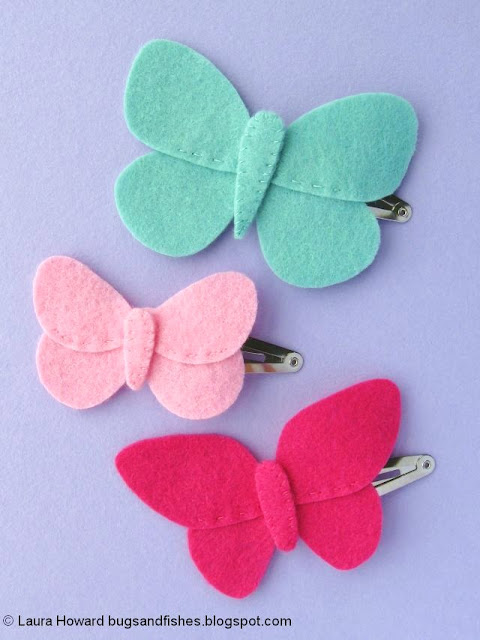 Felt Butterfly Hair Clips Tutorial