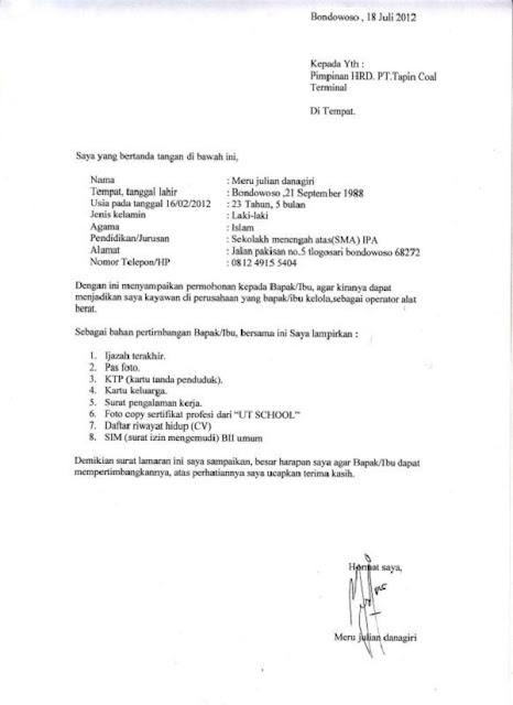Contoh surat lamaran kerja Untuk fress graduate