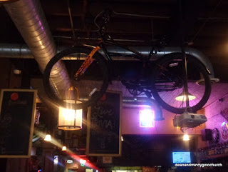 bicycle on the ceiling at McHale's in Rock Hill