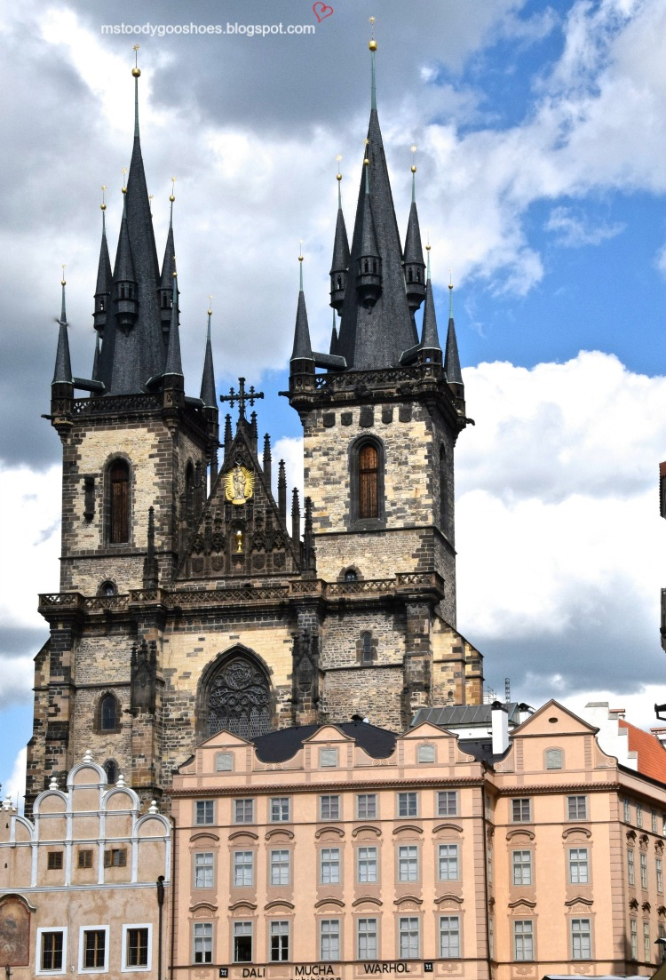 Tyn Church in stunning Old Town Square, Prague | Ms. Toody Goo Shoes #prague #oldtownsquare #tynchurch #danuberivercruise