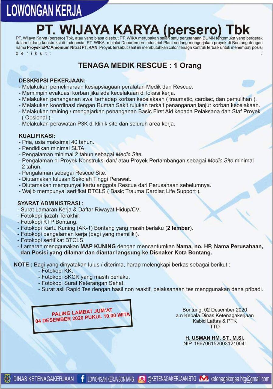 Lowongan Kerja BUMN Wijaya Karya (Persero) Tahun 2020