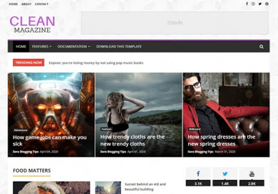 Clean Magazine - Blogger Template Paid Version Free Download.