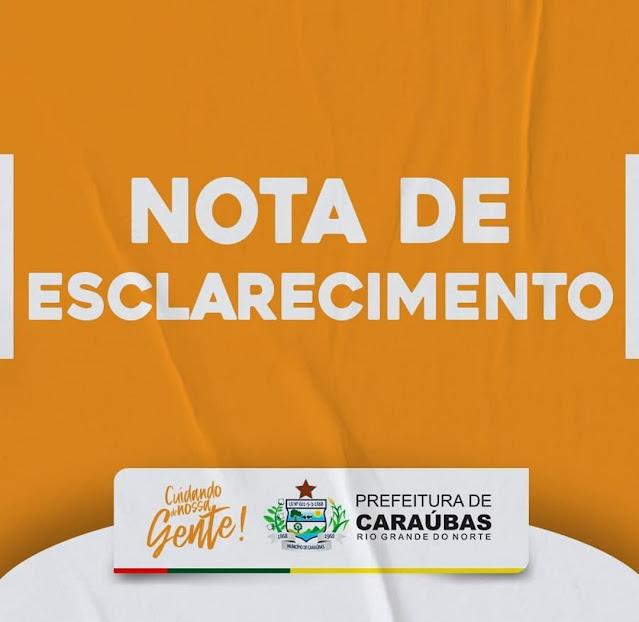 Nota de esclarecimento da Secretaria de Cultura e Turismo de Caraúbas