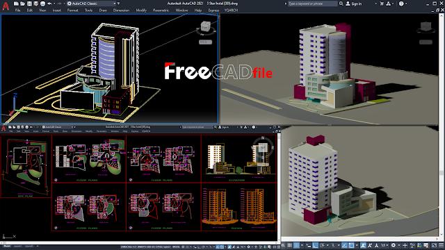 FLOORS PLANS DETAILS FOR 5 STAR HOTEL 2D & 3D [DWG]