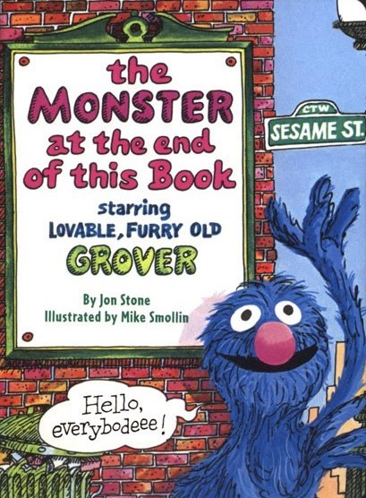 Grover waving under title of book and Sesame Street signpost with balloon 'Hello everybodeee!'