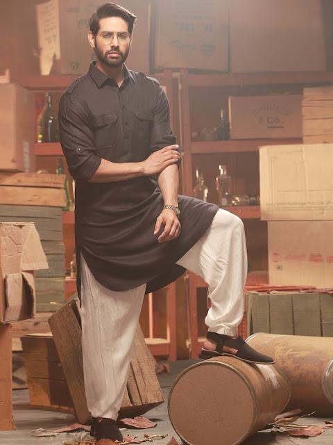 Black Kurta Pajama Design Style for Man's Fashion Images