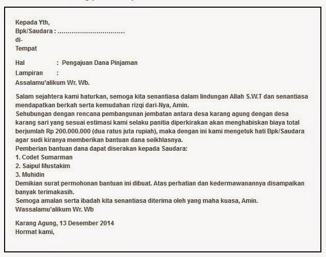 Contoh Surat Bantuan Dana