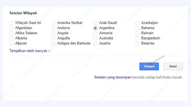 pilih negara penelusuran google chrome