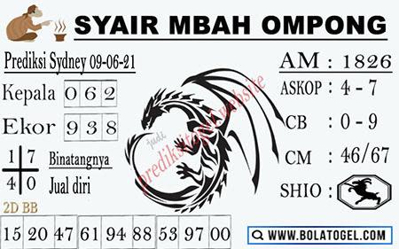 Syair Mbah Ompong Sydney Rabu 09-Juni-2021