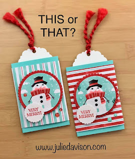 VIDEO: Simple Slide Gift Card Holder Tutorial ~ Stampin' Up! Itty Bitty Christmas + Snowman Season ~ Let It Snow Suite ~ 2019 Holiday Catalog ~ www.juliedavison.com #stampinup