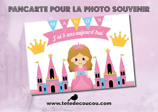 Pancarte photo souvenir Kit anniversaire personnalisé princesse fille rose à imprimer tête de coucou