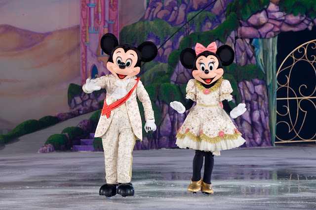 Mickey and Minnie Mouse on ice