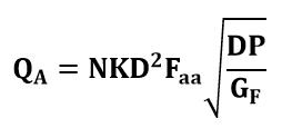 Fórmula o ecucación de caudal volumétrico del tubo Annubar para líquidos