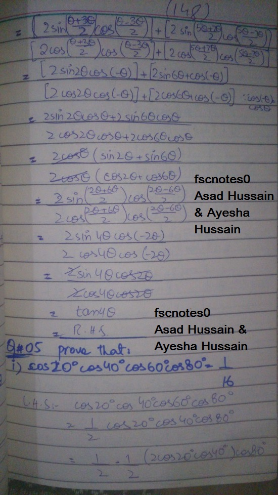 FSc ICS FA Notes Math Part 1 Chapter 10 Trigonometric Identities Exercise 10.4 Question 3 - 4 written by: Asad Hussian & Ayesha Hussain 4