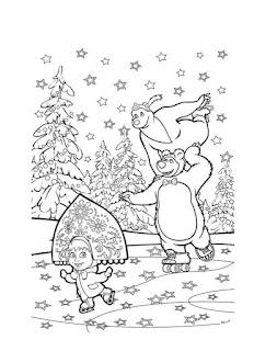 מאשה והדוב בשלג לצביעה