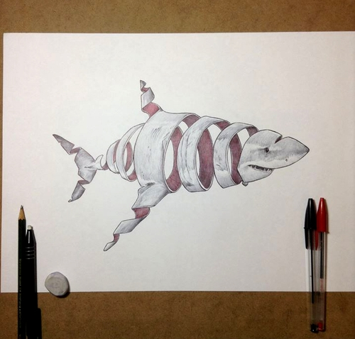 13-Shark-Jaume-Montserrat-Illustrations-of-Ribbon-Animals-in-Emptyland-www-designstack-co