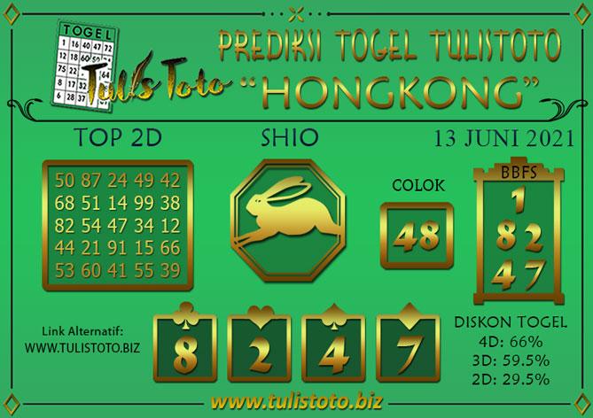 Prediksi Togel HONGKONG TULISTOTO 13 JUNI 2021